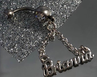 Fashion Jewelry Body Piercing Jewelry Quality Hand Crafted Personalised Name Taylor Dangle Belly Navel Bar Ring