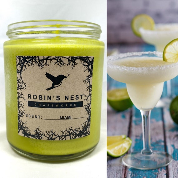 Florida Scented Candles Miami Scent 8oz Margarita Candles Handmade Soy Candles Scented Container Candles