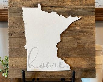 "Minnesota Home - Reclaimed Barnwood Slat Background - Wood Laser-Cut MN State - Handpainted - 13.5x13.5"""