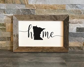 "Minnesota Home Farmhouse Sign - Reclaimed Barnwood Frame - Handpainted - 12x8"""