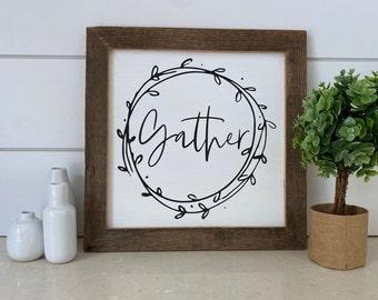 """Gather Wreath - Farmhouse Sign - Reclaimed Barnwood Frame - Handpainted - 12x12"""""""