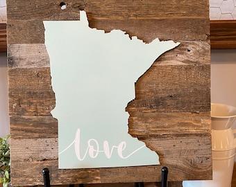 "Minnesota Love - Reclaimed Barnwood Slat Background - Wood Laser-Cut MN State - Handpainted - 13.5x13.5"""