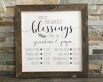 "Our Greatest Blessings Call Us Grandma & Grandpa Custom Farmhouse Sign - Reclaimed Barnwood Frame - Personalized - 12x12"""