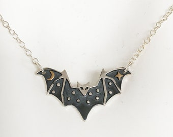 Halloween Bats Necklace with Black Teardrop and Gray Pearl Full Moon Necklace Bronze Necklace. Flying Bats Necklace Halloween Necklace