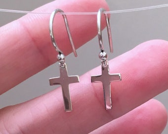 aea6ba9a5 Tiny Cross Earrings, Sterling Silver, Dainty Charms, Catholic Gift,  Religious Jewelry, Simple Classic, Classy Charm, Lightweight, Everyday