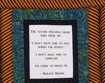 Barack Obama quilt, african fabric quilt, handmade quilted wall hanging, african wall art