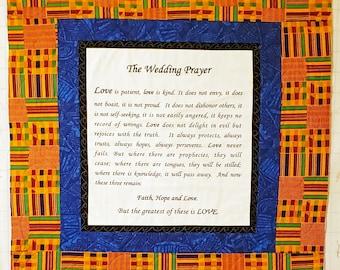 I Corinthians Love is Patient prayer, wedding prayer, wedding gift, bridal gift, handmade prayer quilt, marriage prayer quilt