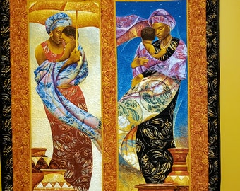 Mother love, Black Family quilt, Keith Mallett, African wall hanging, African art quilt, Mother and child quilt