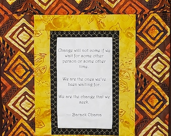 Barack Obama quilt, african fabric quilt, handmade quilted wall hanging, wakanda wall art