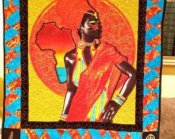 African queen quilt, African handmade wall hanging, wakanda wall art,