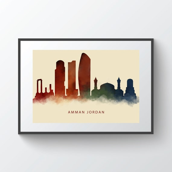 Amman Jordan Skyline Watercolor Print Wall Art Decor Printed Or Printable