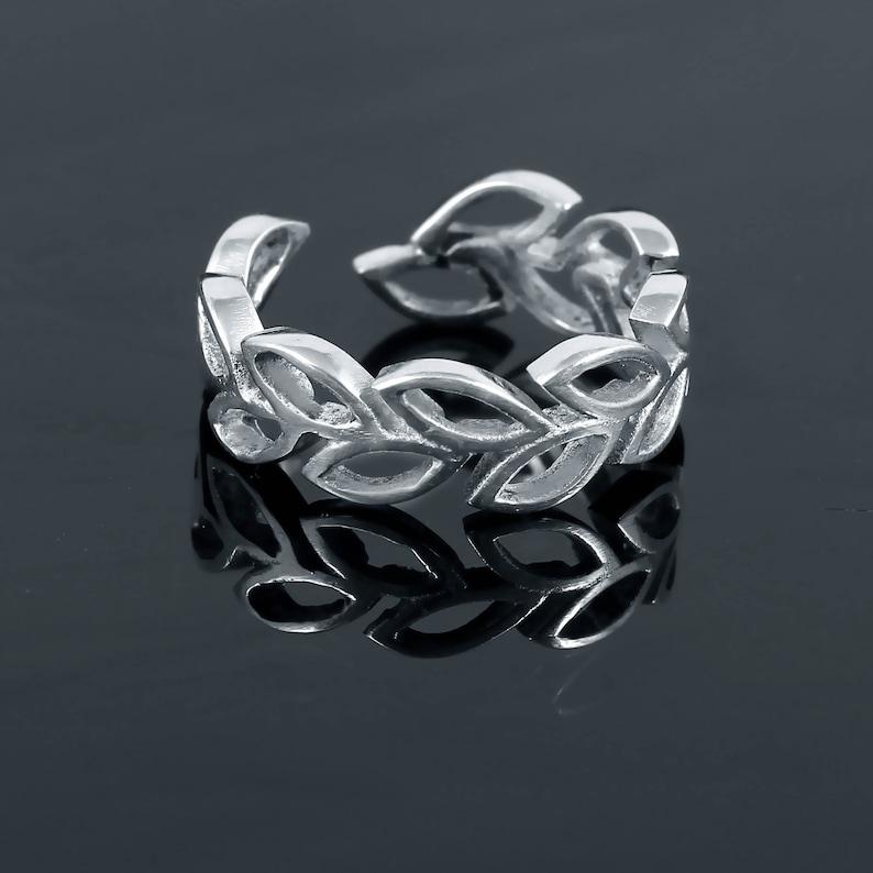 925 Sterling Silver Leaf Ring Adjustable Nature Jewelry Leaf Branch Ring Leaf Ring Laurel Ring Floral Leaves Silver Leaf Ring for Women AJ82