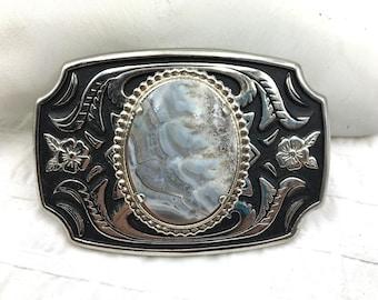 Old Western Silver Tone Lace Agate Belt Buclkle