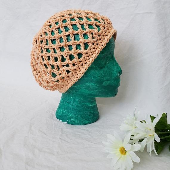 Child Adult Women Toddler Crochet Peach Orange Slouchy Beret Hat Cotton Beret Beanie Baby Girl Lightweight Spring Summer Boho Hat