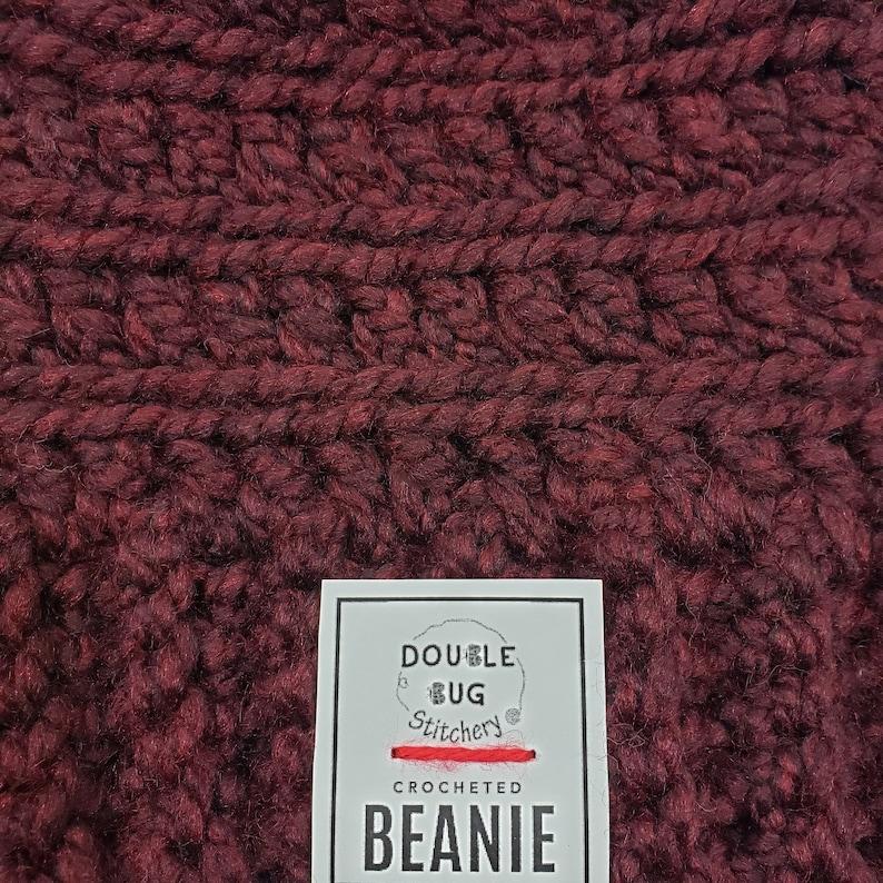 Beanie for Men and Children Chunky Warm Winter Hat Dark Red Burgundy Beanie Women Rust Colored Oversized Slouchy Crochet Beanie