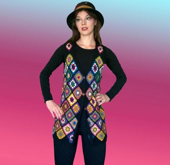 Hand crochet granny square 1970s BoHo Hippie long