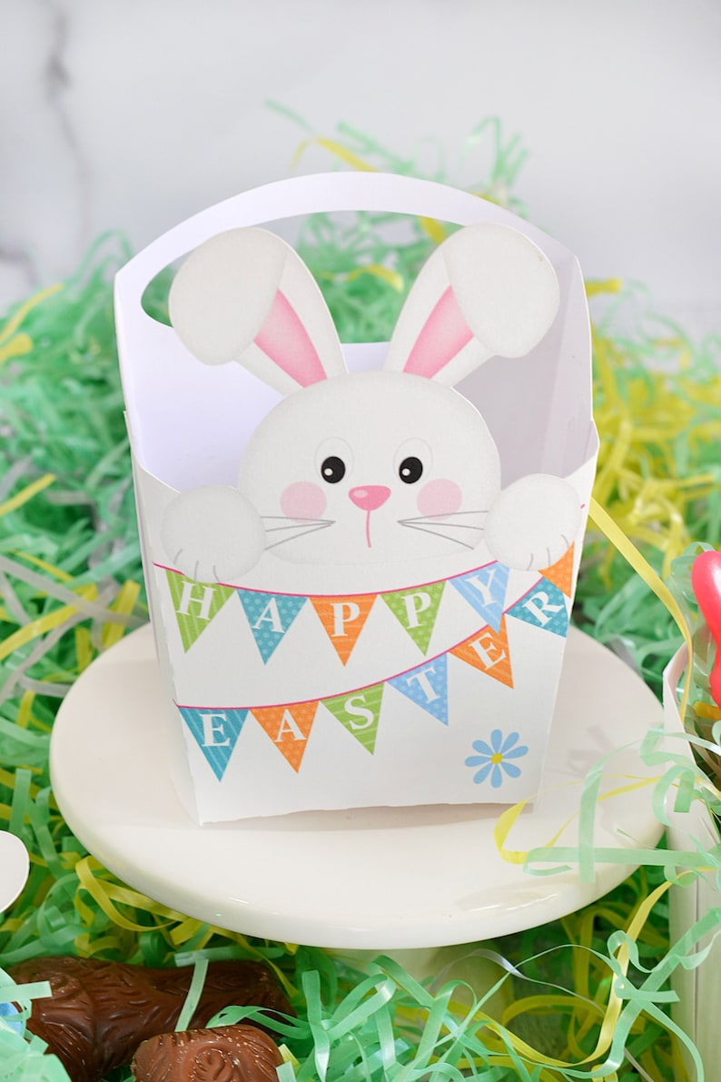 Easter Party Supplies Easter Bunny Party Favor Easter Decorations,Easter Place Setting Decor Happy Easter White Rabbit Basket Party Favor