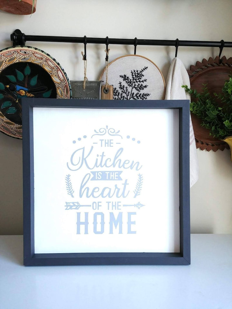 The Kitchen Is The Heart Of The Home Reverse Canvas Sign