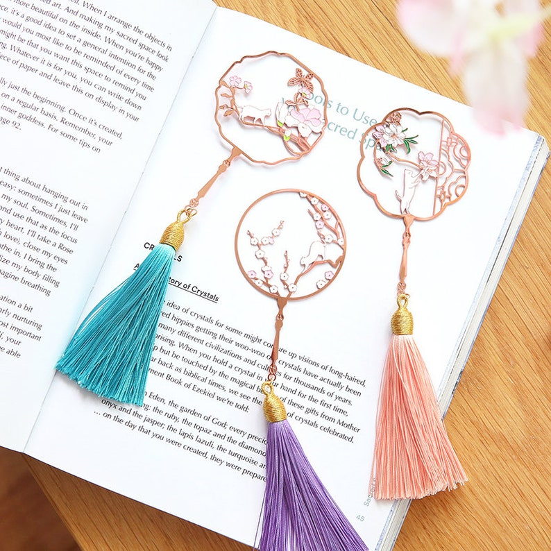 Cat & flower series metal hollow bookmarks, Chinese art style color  bookmarks  on SALE  sku: yb150