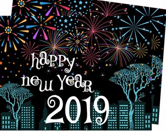festive 2019 happy new year cards 5x7 greetings card new years card printable card