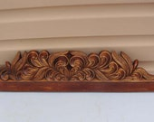 Vintage Crown Molding, French Carved Wood Furniture Pediment, Architectural Salvage Fronton, Above Door Decor, Hand Carved Wood Panel Mirror