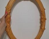 Vintage Mirror Frame Large Photo Frame Victorian Ornate Metal Bronze Vintage Picture Frame Medium oval frame Art deco 60s