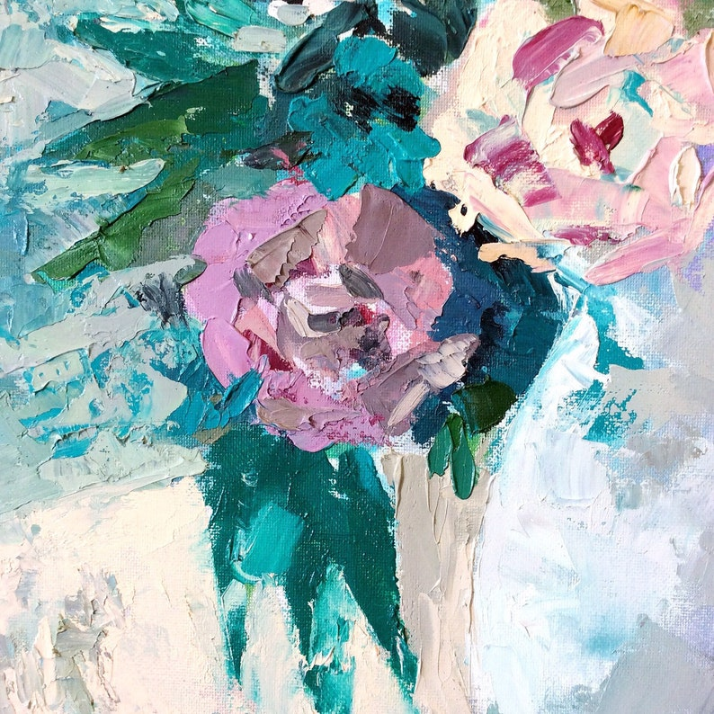 oil painting abstract flowers . abstract impressionist flower painting Serene floral art flower vase modern still life