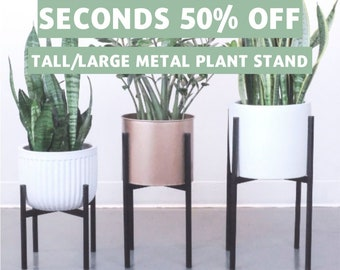 18bfe2027c6f SECONDS LARGE - Imperfect Metal Plant Stand | Mid Century Modern Design |  Indoor Plant Holder | Classic Black (Pot NOT Included)