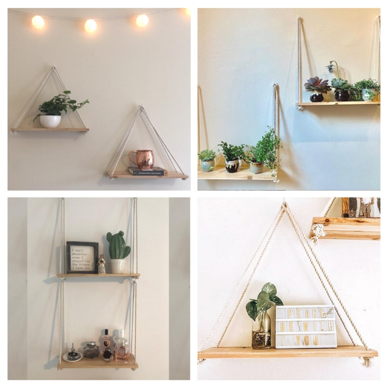 Hanging Shelves Rope Hanging Shelf Set of 2 w/ Hooks image 10