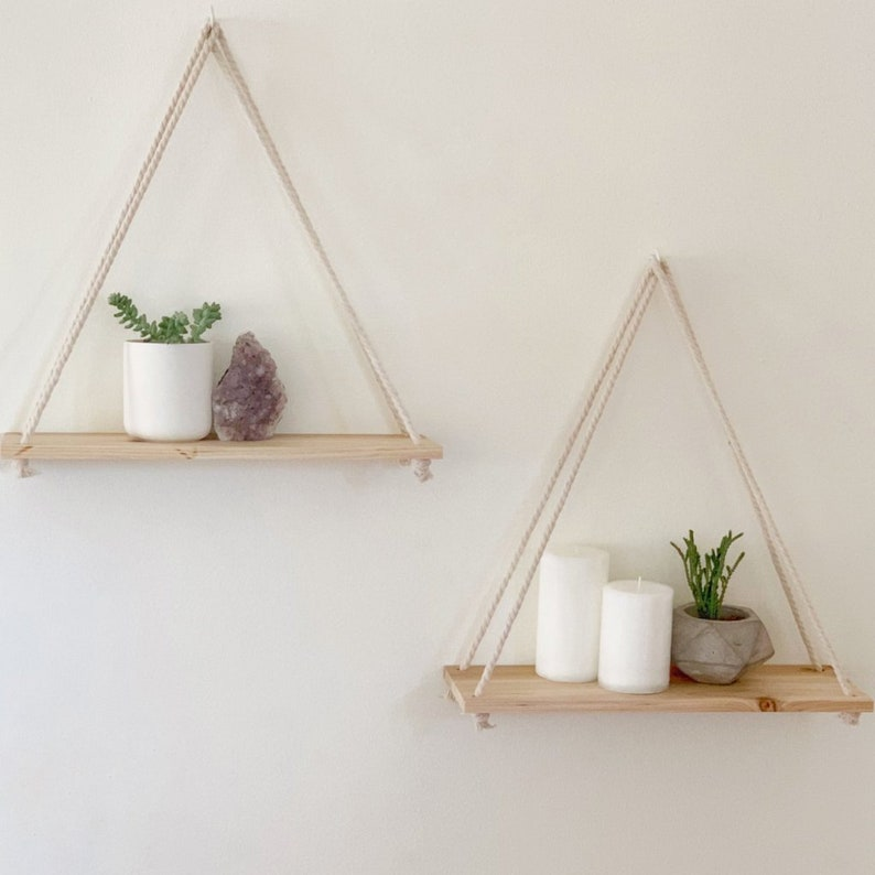 Hanging Shelves Set of 2 Distressed Wood Hanging Shelf with image 0
