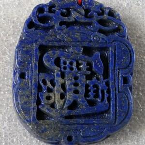 Natural Deep Blue Afghanistan Lapis Lazuli Ruyi/&Pixiu Pendant t0659-40ct
