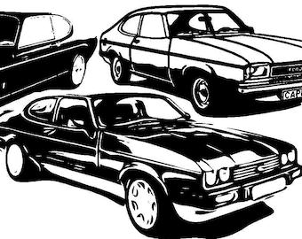 ford capri etsy 1964 Mustang Hardtop ford capri wall art vinyl sticker