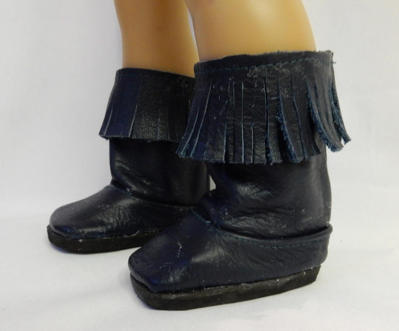 78a74979ede26 18 inch doll clothes; Navy leather Boots with fringe. Made to fit like  American Girl doll clothes; AG doll clothes shoes