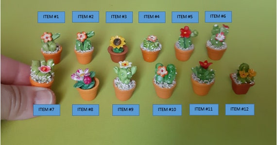 "Dollhouse Miniature Home//Garden//Yard 3/"" Handmade Clay Assorted Flowers 1:12"