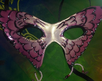 Leather Pink Butterfly Mask
