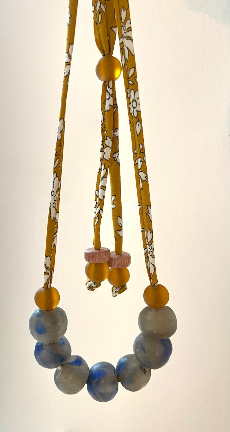 with Black Leather Cord Art Glass Neckless \u2013 Handmade \u2013 Gold Green Red