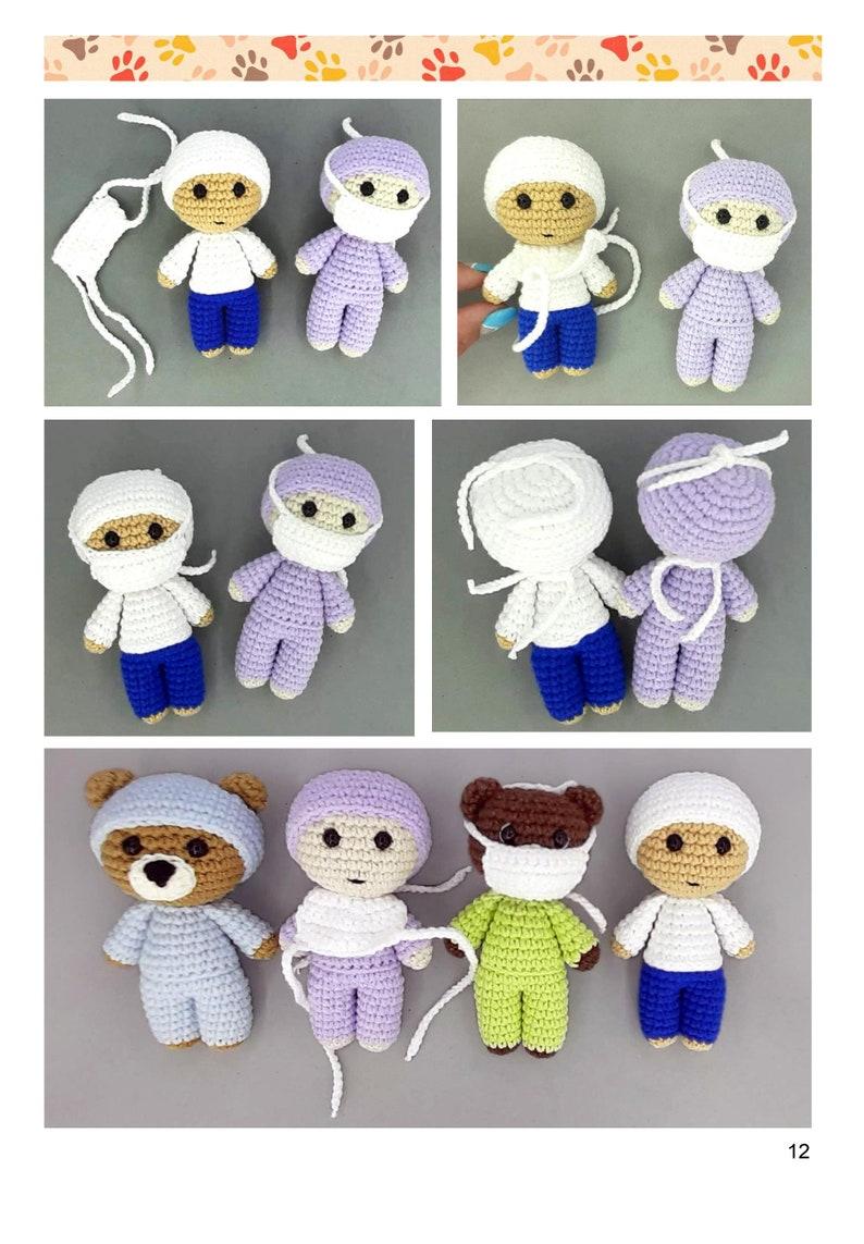 Frontline hero Amigurumi patterns SET Crochet doctor  nurse  bear