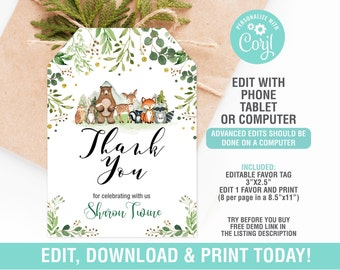 Woodland Baby Shower Food Tent Cards or Place Cards Printable Forest Baby Shower Woodland Animals Baby Shower INSTANT Download  010