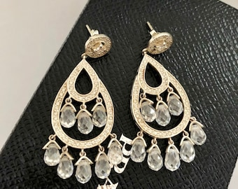 dcb889ac036073 Stunning 1990s Sterling Silver Diamanté and Crystal Drop Earrings