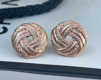 Rose Gold On Sterling Silver Circle Earrings