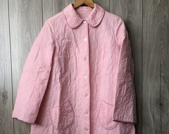 24892961ab 1970s Women s Nylon Quilted Robe Housecoat Pink Robe Button Down Women s  Clothing Vintage Robe Homewear Size M L