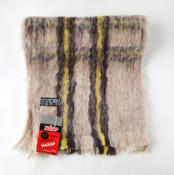 Beige mohair scarf Vintage Indian mohair scarf 198