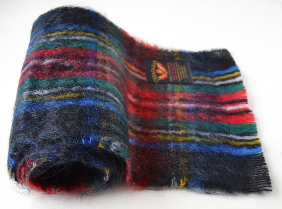 Scottish mohair scarf Vintage plaid mohair scarf … - image 9