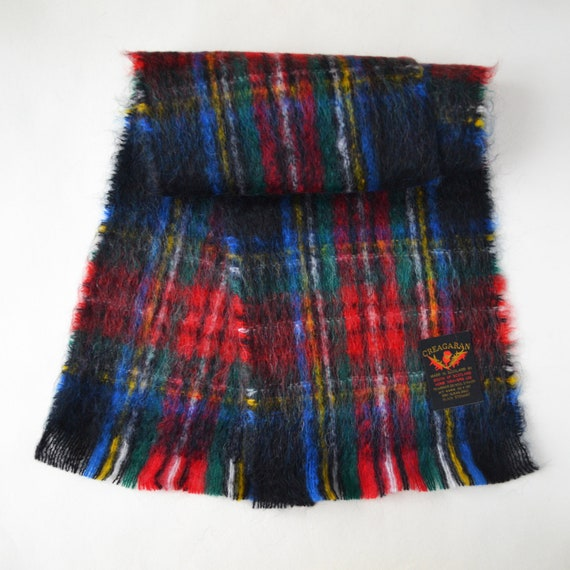 Scottish mohair scarf Vintage plaid mohair scarf … - image 5