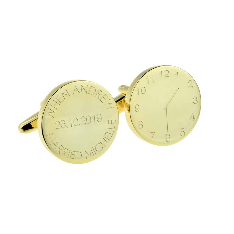 When ....Married..... Gold Wedding Cufflinks Personalised Engraved