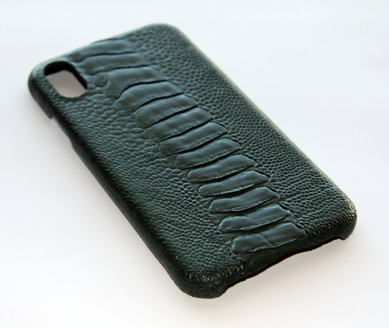 iPhone X Cover Case Genuine Ostrich Leather