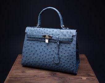 Genuine ostrich leather bag, Lady's handbag, Elegant woman bag.