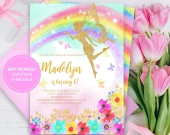 Magical Fairy Invitation Rainbow Printable Editable Birthday INSTANT DOWNLOAD Invite Digital
