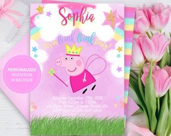 Fairy Pig Invitation Peppa Birthday Personalized Party Invites Printables Theme