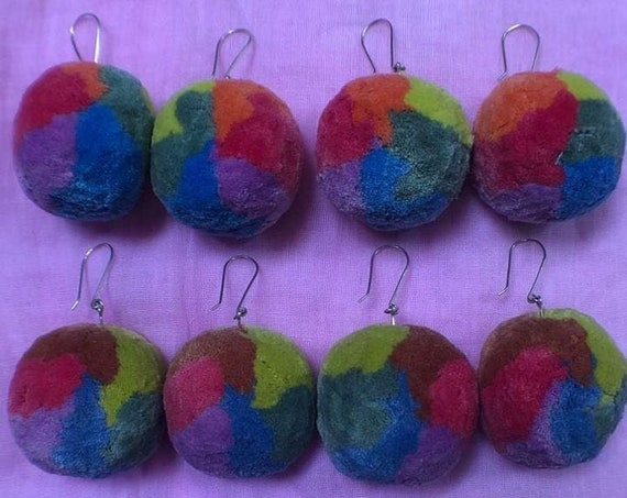 Gradient Rainbow Pom Earring Botanically Dyed Cotton Pom Pom Earrings with Sterling Silver